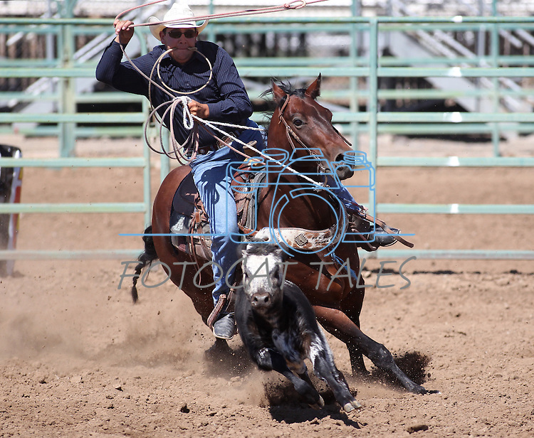 Ethan Garcia competes in the calf roping event at the Minden Ranch Rodeo on Sunday, July 24, 2011, in Gardnerville, Nev. .Photo by Cathleen Allison
