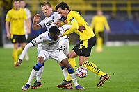 DORTMUND, GERMANY - NOVEMBER 24 : Clinton Mata defender of Club Brugge is fighting for the ball with Mats Hummels defender of Borussia Dortmund during the UEFA Champions League Group stage - group F, 2nd leg match between Borussia Dortmund and Club Brugge at the Signal Iduna Park stadium on November 24, 2020 in Dortmund, Germany, 24/11/2020 ( Photo by Nico Vereecken / Photo News<br /> Borussia Dortmund - Club Brugge <br /> Champions League 2020/2021<br /> Photo Photonews / Panoramic / Insidefoto <br /> Italy Only