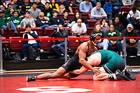 STANFORD, CA - March 7, 2020: J.J. Dixon of Oregon State University and Thomas Lane of Cal Poly during the 2020 Pac-12 Wrestling Championships at Maples Pavilion.
