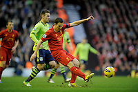 15.12.2012. Liverpool, England. Stewart Downing of Liverpool    in action during the Premier League game between Liverpool and Aston Villa from Anfield,Liverpool