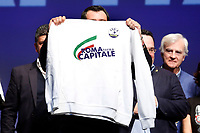 Matteo Salvini showing a sweatshirt with Roma returns capital<br /> Rome February 16th 2020. Convention 'Salvini meets Rome'.<br /> Foto Samantha Zucchi Insidefoto