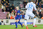 Sidnei Rechel da Silva Junior of RC Deportivo La Coruna (R) in action against Andres Iniesta of FC Barcelona (L) during the La Liga 2017-18 match between FC Barcelona and Deportivo La Coruna at Camp Nou Stadium on 17 December 2017 in Barcelona, Spain. Photo by Vicens Gimenez / Power Sport Images