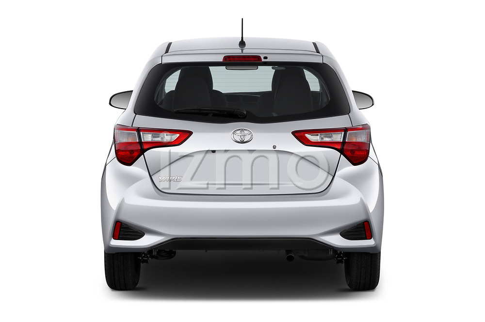 Straight rear view of 2018 Toyota Yaris Y-oung 3 Door Hatchback Rear View  stock images