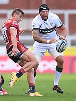 5th September 2020; Kingsholm Stadium, Gloucester, Gloucestershire, England; English Premiership Rugby, Gloucester versus London Irish; Jonny May of Gloucester kicks under pressure  from Sebastian de Chaves of London Irish