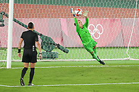 YOKOHAMA, JAPAN - AUGUST 6: Stephanie Labbe #1 of Canada makes a save during PK shootout during a game between Canada and Sweden at International Stadium Yokohama on August 6, 2021 in Yokohama, Japan.