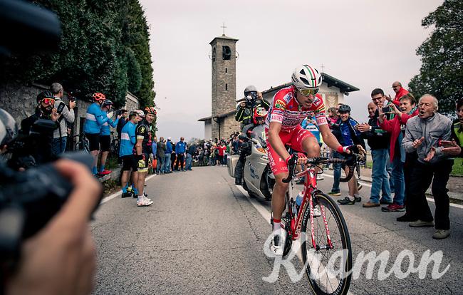 Fausto Masnada (ITA/Androni Giocattoli - Sidermec) is the first rider at the top of the Madonna del Ghisallo (754m)<br /> <br /> 113th Il Lombardia 2019 (1.UWT)<br /> 1 day race from Bergamo to Como (ITA/243km)<br /> <br /> ©kramon