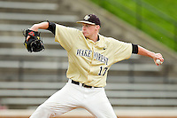 Wake Forest Demon Deacons relief pitcher John McLeod #17 in action against the Virginia Tech Hokies at Wake Forest Baseball Park on April 21, 2012 in Winston-Salem, North Carolina.  The Demon Deacons defeated the Hokies 8-6.  (Brian Westerholt/Four Seam Images)
