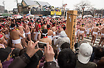 February  20th, 2016, Inazawa, Japan - Festival participants reaching the main gate of Konomiya Shrine on Saturday, February 20, 2016.<br /> The festival organised by Konomiya Shrine, takes place annually on the 13th of the lunar calendar. It is one of the oldest festivals in Japan. Since the old days, the participants are men only, mostly of the ages 24, 42 and 61, which are considered unlucky in Japan. By taking part in the festival they are hoping to avoid the bad luck throughout the coming year.