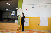 Shenna Bellows, Democratic candidate in Maine for US Senate, waits to speak to the Portland Democratic City Committee town caucus in the East End School cafeteria in Portland, Maine, USA, on March 3, 2014. Bellows is trying to unseat incumbent Maine Republican Senator Susan Collins in the 2014 election. The town caucus had speeches from various other local candidates and also served to choose delegates for the 2014 Maine State Democratic Caucus.