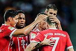 Bayern Munich Defender Rafinha de Souza (C) celebrating his goal kissing Bayern Munich Midfielder Franck Ribery (R) during the International Champions Cup match between Chelsea FC and FC Bayern Munich at National Stadium on July 25, 2017 in Singapore. Photo by Marcio Rodrigo Machado / Power Sport Images