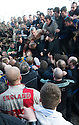 """17/02/15  <br /> <br /> 'The hug' bogs down in Henmore Brook at the annual Royal Shrovetide Football  Match in Ashbourne, Derbyshire. After 'turning up' the ball at 2pm thousands of rival Up'Ards' and Down'Ards' team members attempt to 'goal' the ball onto stones set three miles apart in the town of Ashbourne, Derbyshire. The game also known as """"hugball"""" has been played from at least c.1667 although the exact origins of the game are unknown but one of the most popular origin theories suggests the macabre notion that the 'ball' was originally a severed head tossed into the waiting crowd following an execution.<br /> <br /> <br /> All Rights Reserved - F Stop Press.  www.fstoppress.com. Tel: +44 (0)1335 418629 +44(0)7765 242650"""