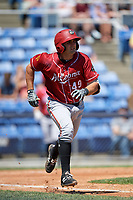 Altoona Curve catcher Christian Kelley (49) runs to first base during a game against the Binghamton Rumble Ponies on June 14, 2018 at NYSEG Stadium in Binghamton, New York.  Altoona defeated Binghamton 9-2.  (Mike Janes/Four Seam Images)
