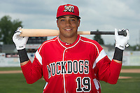 Batavia Muckdogs catcher Luis Alberto Sanz (19) poses for a photo during media day on June 10, 2014 at Dwyer Stadium in Batavia, New York.  (Mike Janes/Four Seam Images)