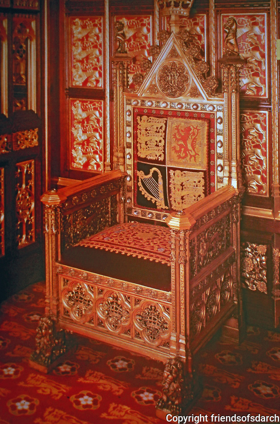The Sovereign Throne of the Palace of Westminster designed by A. Pugin for ceremonial use, and in particular for the official opening of the House of Lords in April 1847.