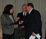 PAOLA SEVERINO, GIANNI LETTA E SILVIO BERLUSCONI <br /> PREMIO GUIDO CARLI - TERZA  EDIZIONE<br /> PALAZZO DI MONTECITORIO - SALA DELLA LUPA<br /> CON RICEVIMENTO  HOTEL MAJESTIC   ROMA 2012