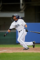 Princeton Rays left fielder Pedro Diaz (30) follows through on a swing during the first game of a doubleheader against the Greeneville Reds on July 25, 2018 at Hunnicutt Field in Princeton, West Virginia.  Princeton defeated Greeneville 6-4.  (Mike Janes/Four Seam Images)