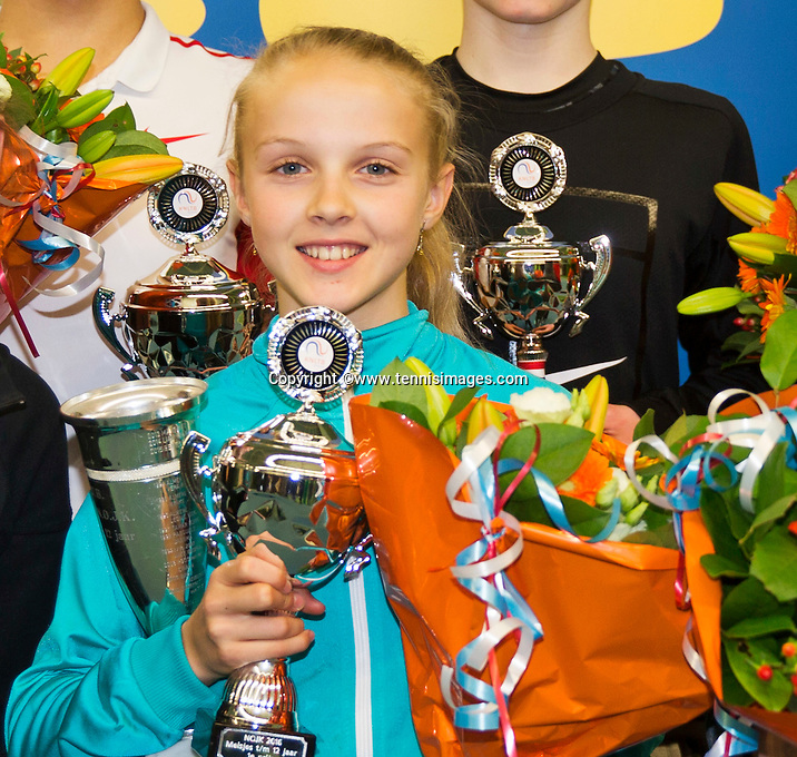 Rotterdam, The Netherlands, March 13, 2016,  TV Victoria, NOJK 12/16 years, Winner girls 12 years Joelle Steur (NED) <br /> Photo: Tennisimages/Henk Koster