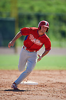 Philadelphia Phillies Scott Kingery (25) during an Instructional League game against the Toronto Blue Jays on October 1, 2016 at the Carpenter Complex in Clearwater, Florida.  (Mike Janes/Four Seam Images)