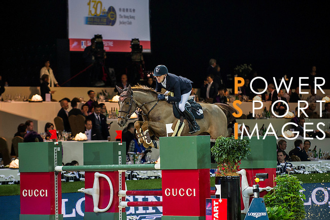 Simon Delestre of France riding Ryan des Hayettes in action during the Hong Kong Jockey Club Trophy competition as part of the Longines Hong Kong Masters on 13 February 2015, at the Asia World Expo, outskirts Hong Kong, China. Photo by Victor Fraile / Power Sport Images