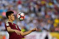 Foxborough, MA - Saturday June 18, 2016: Wilker Angel prior to a Copa America Centenario quarterfinal match between Argentina (ARG) and Venezuela (VEN)  at Gillette Stadium.