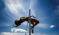 Jessica Zelinka of London, Ont., competes in the high jump during the heptathlon event at the Canadian Track and Field Championships in Calgary, Alta., Wednesday, June 27, 2012.THE CANADIAN PRESS/Sean Kilpatrick
