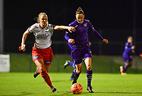 Lotte De Wilde (19) of Zulte-Waregem pictured in a duel with Elke Van Gorp  (7) of Anderlecht during a female soccer game between RSC Anderlecht Dames and SV Zulte Waregem on the 10 th matchday of the 2020 - 2021 season of Belgian Womens Super League , friday 18 th of December 2020  in Tubize , Belgium . PHOTO SPORTPIX.BE | SPP | DAVID CATRY