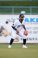 Lake County Captains second baseman Aaron Bracho (17) during a game against the Great Lakes Loons on August 28, 2021 at Classic Park in Eastlake, Ohio.  (Mike Janes/Four Seam Images)
