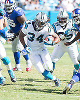 The Carolina Panthers played the New York Giants at Bank of America Stadium in Charlotte, NC.  The Panthers won 38-0 for their first victory of the season.  The Giants dropped to 0-3.  Carolina Panthers running back DeAngelo Williams (34)