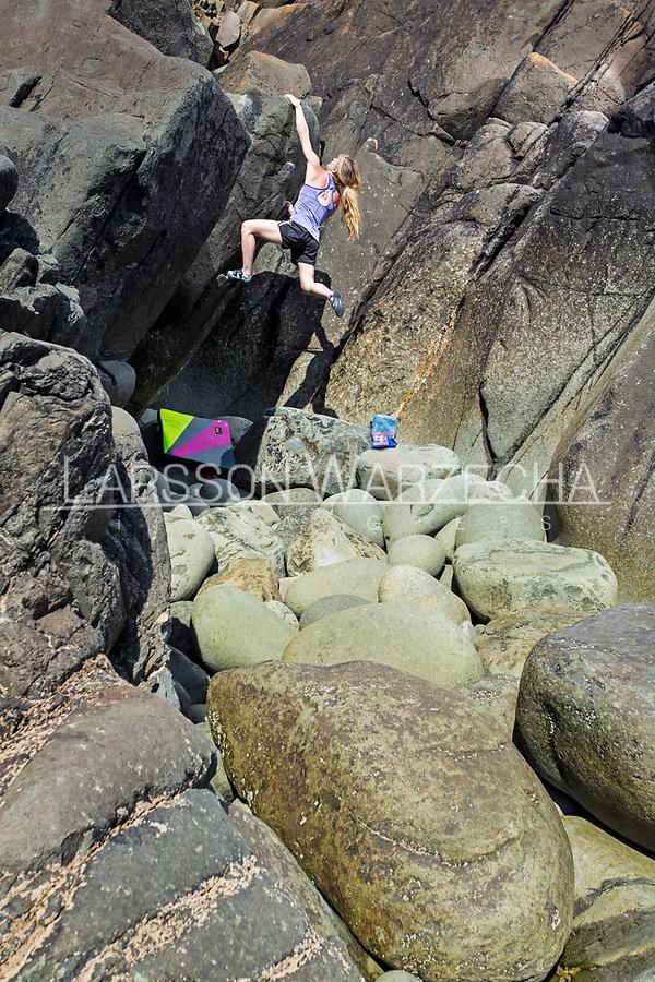 Shauna Coxsey bouldering at Porth Ysgo, North Wales, United Kingdom