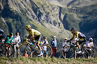 yellow jersey Julian Alaphilippe (FRA/Deceuninck Quick Step) and  Primoz Roglic (SLV/Team Jumbo Visma)<br /> <br /> 107th Tour de France 2020 (2.UWT)<br /> (the 'postponed edition' held in september)<br /> Stage 4 from Sisteron to Orcières-Merlette 160,5km<br /> ©kramon