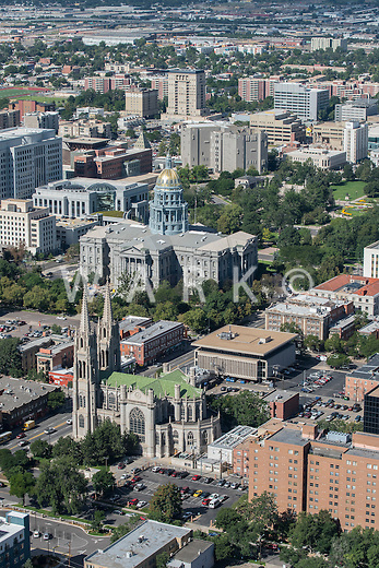 Colorado Capitol and The Cathedral Basilica of the Immaculate Conception. Aug 20, 2014