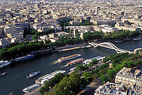 Paris, Ile de France, France, Europe, Aerial view of the city of Paris and the Seine River looking North from the Eiffel Tower.