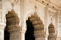Scalloped ARCHES of the RANG MAHAL inside the RED FORT or LAL QULA which was built by Emperor Shah Jahan in 1628 - OLD DELHI, INDIA