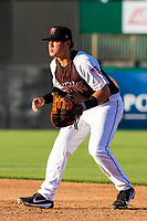 Wisconsin Timber Rattlers first baseman KJ Harrison (24) gets into defensive position during a Midwest League game against the Clinton LumberKings on June 29, 2018 at Fox Cities Stadium in Appleton, Wisconsin. Clinton defeated Wisconsin 9-7. (Brad Krause/Four Seam Images)