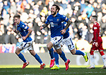 St Johnstone v Rangers…..23.02.20   McDiarmid Park   SPFL<br />Stevie May celebrates his goal<br />Picture by Graeme Hart.<br />Copyright Perthshire Picture Agency<br />Tel: 01738 623350  Mobile: 07990 594431