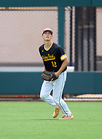 Bishop Verot Vikings outfielder Brady Loughren (12) during practice before the 42nd Annual FACA All-Star Baseball Classic on June 5, 2021 at Joker Marchant Stadium in Lakeland, Florida.  (Mike Janes/Four Seam Images)