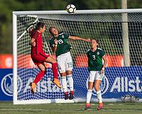 Bradenton, FL - Sunday, June 12, 2018: Sunshine Fontes, Rebeca Villuendas, Tanna Sanchez during a U-17 Women's Championship Finals match between USA and Mexico at IMG Academy.  USA defeated Mexico 3-2 to win the championship.