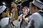 © Joel Goodman - 07973 332324 . 26/12/2016 . Wigan , UK . Men dressed as sailors . Revellers in Wigan enjoy Boxing Day drinks and clubbing in Wigan Wallgate . In recent years a tradition has been established in which people go out wearing fancy-dress costumes on Boxing Day night . Photo credit : Joel Goodman