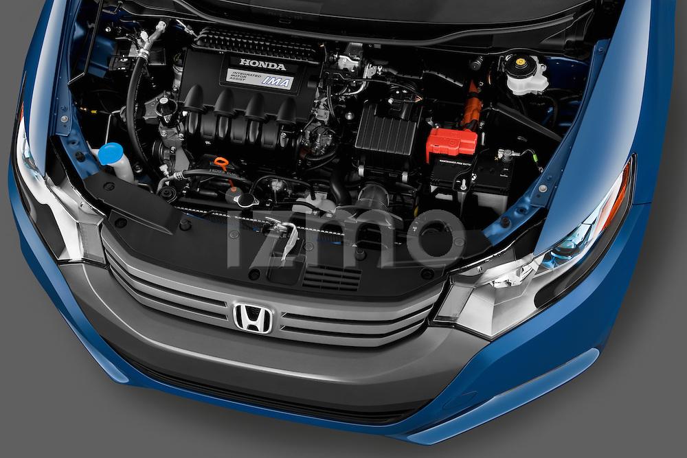 High angle engine detail of a 2010 Honda Insight EXL .