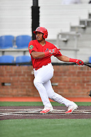 Johnson City Cardinals designated hitter Jonathan Rivera (52) swings at a pitch during a game against the Danville Braves at TVA Credit Union Ballpark on July 23, 2017 in Johnson City, Tennessee. The Cardinals defeated the Braves 8-5. (Tony Farlow/Four Seam Images)