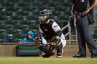 Salt River Rafters catcher Daulton Varsho (8), of the Arizona Diamondbacks organization, during an Arizona Fall League game against the Scottsdale Scorpions at Salt River Fields at Talking Stick on October 11, 2018 in Scottsdale, Arizona. Salt River defeated Scottsdale 7-6. (Zachary Lucy/Four Seam Images)