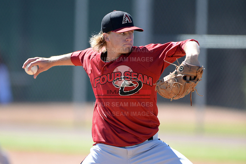 Arizona Diamondbacks pitcher Jimmie Sherfy (14) during an Instructional League game against the Chicago Cubs on October 5, 2013 at Salt River Fields at Talking Stick in Scottsdale, Arizona.  (Mike Janes/Four Seam Images)