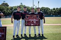 STANFORD, CA - MAY 29: Senior Austin Weiermiller, David Esquer, Max Meier, Tommy O'Rourke before a game between Oregon State University and Stanford Baseball at Sunken Diamond on May 29, 2021 in Stanford, California.