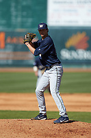 Wingate Bulldogs starting pitcher Hunter Morgan (24) comes set against the Catawba Indians at Newman Park on March 19, 2017 in Salisbury, North Carolina. The Indians defeated the Bulldogs 12-6. (Brian Westerholt/Four Seam Images)
