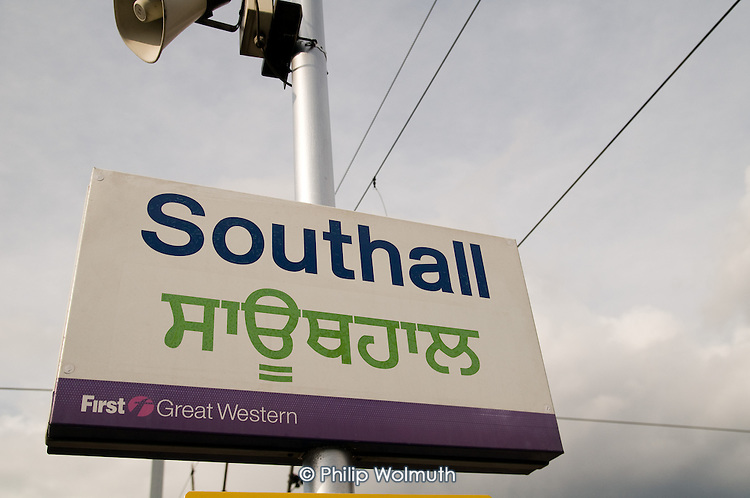 English and Punjabi sign at Southall train station, in West London. The area has a large Sikh population.