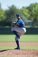 Los Angeles Dodgers relief pitcher Carlos Duran (35) delivers a pitch during an Instructional League game against the San Diego Padres at Camelback Ranch on September 25, 2018 in Glendale, Arizona. (Zachary Lucy/Four Seam Images)