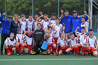 Horowhenua celebrate making the final after winning the 2019 Hatch Cup Under-13 Boys' Hockey Tournament semifinal against Nelson at Fitzherbert Park Twin Turfs in Palmerston North, New Zealand on Friday, 11 October 2019. Photo: Dave Lintott / lintottphoto.co.nz