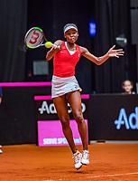 Den Bosch, The Netherlands, Februari 9, 2019,  Maaspoort , FedCup  Netherlands - Canada, second match : Francoise Abanda (CAN)<br /> Photo: Tennisimages/Henk Koster