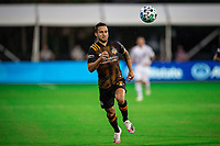 LAKE BUENA VISTA, FL - JULY 23: Niko Hansen #12 of the Houston Dynamo waits for the ball during a game between Los Angeles Galaxy and Houston Dynamo at ESPN Wide World of Sports on July 23, 2020 in Lake Buena Vista, Florida.