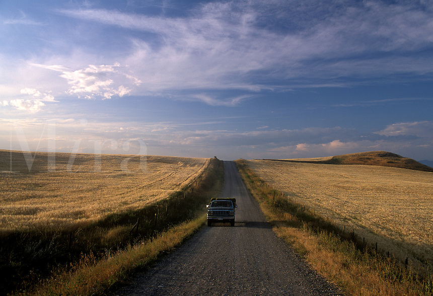 Dirt road with lone truck.
